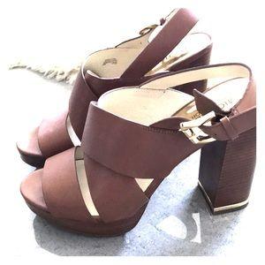 Michael kors brown block heel sandals size 8.5